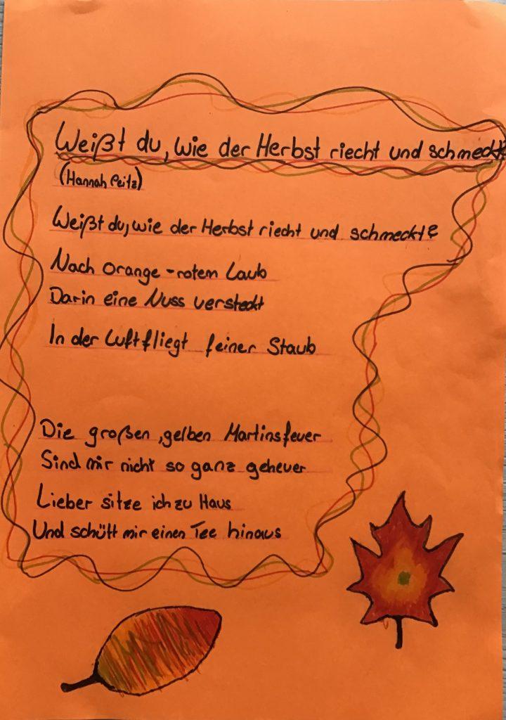 Herbst gedicht über Kurze Herbstgedichte